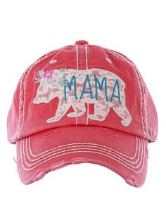 5ec9561c1eb Embroidered Lace Mama Bear Cap - Red