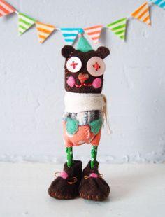 Sweetie Bear Cute Animal Handmade doll - Bernie Lovely Soft Sculpture Funny Art doll Room Decoration