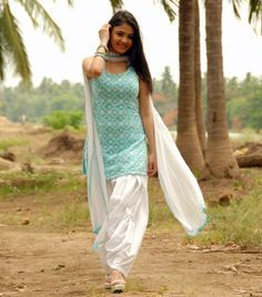 South Indian Actress Rachana Malhotra in Turquoise and White Colour Salwar Kameez
