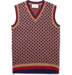 Jacquard-Knit Camel, Wool and Silk-Blend Sweater Vest   MR PORTER