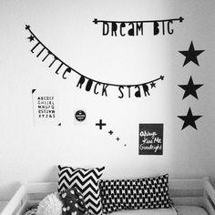 Dream big little rock star Baby Boy Rooms, Baby Boy Nurseries, Kids Corner, Nursery Inspiration, Baby Time, Kid Spaces, Room Themes, Kids Bedroom, Banners