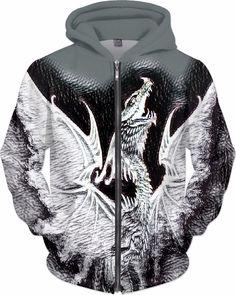 Dark Dragon Dubstep Custom Fantasy Style Zip Hoodie by Willy Badu.