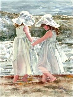 Selections from the portfolio of Judith Stein watercolors featuring children on the beach.