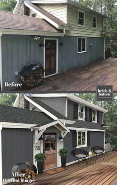 Simple Farmhouse Exterior - #GreenExteriorShutters - Exterior De Casas Estilo Americano - Modern Exterior Garden