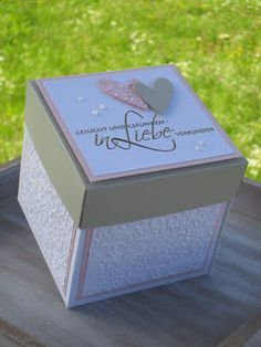 Legendary explosion box for the wedding – – The Best Ideas Wedding Boxes, Wedding Cards, Wedding Gifts, Boite Explosive, Exploding Box Card, Diy And Crafts, Paper Crafts, Pop Up Box Cards, Explosion Box