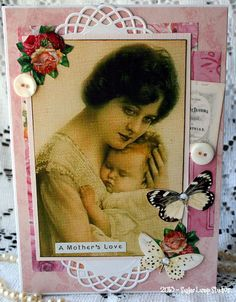 A Mothers Love HANDMADE  Collage Mothers Day Greeting Card