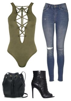 """""""Khaki bodysuit and ripped jeans"""" by beautyfoolyou on Polyvore featuring Topshop, WearAll, Pierre Balmain, J.Crew, women's clothing, women's fashion, women, female, woman and misses"""