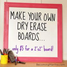 My daughters both love dry erase boards (or as we call them, whiteboards). So when I started to redesign their playroom, I knew I wanted to incorporate a large whiteboard area for them to draw Diy Projects To Try, Craft Projects, Craft Ideas, Diy Ideas, Decor Ideas, Marker Board, Chalk Board, Make Your Own, Make It Yourself
