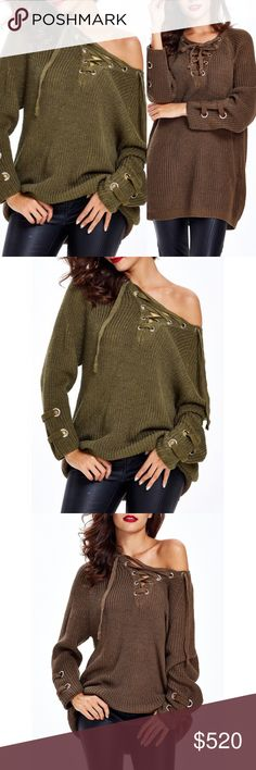 """Coming Soon!! Lace Up Criss Cross Long Sweater Brand new, loose lace up criss-cross long sweater. This listing is for ARMY GREEN. One size fits most  One size fits most Length 26.8"""" / Sleeve Length 23.6""""   Bundle and save! 💰10% off the purchase of 2 items 💰💰 15% off the purchase of 3+ items   ❓Questions? Please reach out and ask - I'm here to help 😊 Sweaters V-Necks"""
