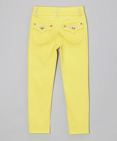 Look what I found on #zulily! Lemon Bling Skinny Jeans - Girls by Lulu Luv #zulilyfinds