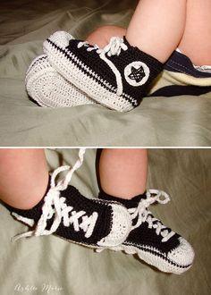 Thread Crochet Baby Converse Sneakers By Ashlee Marie - Free Crochet Pattern - (ashleemarie)