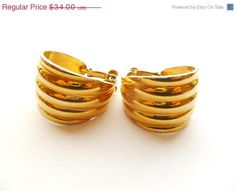 Sale Napier Gold Tone Hoop Earrings Clips 1980s by estatechicago, $27.20