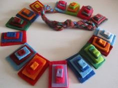 Funky Jewelry, Paper Jewelry, Textile Jewelry, Fabric Jewelry, Leather Jewelry, Metal Jewelry, Jewelry Crafts, Knitted Necklace, Felt Necklace