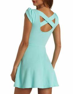 Textured Tulip Sleeve Skater Dress: Charlotte Russe