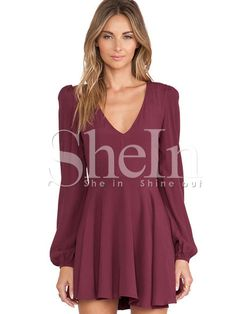 Wine Red Long Sleeve V Neck Pleated Dress -SheIn(Sheinside) Mobile Site