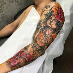 Tatuagem criada por Denis Vazios de Vila Velha. Justiça no estilo neo tradicional. #tattoo #tattoo2me #tatuagem #neotradicional #art #arte #colorida Arm Tattoos, Sleeve Tattoos, Cool Tattoos, Tatoos, Neo Tattoo, Full Tattoo, Traditional Sleeve, Neo Traditional Tattoo, Tattoos For Guys