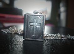 Vintage Dark Silver Bible Cross Locket Necklace.  Available from: www.inspirations.mysupadupa.com