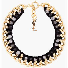 YVES SAINT LAURENT Black and Gold Velvette Chain Necklace found on Polyvore