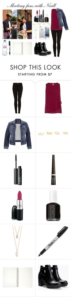 """""""Meeting fans with Niall"""" by barbaradrocha ❤ liked on Polyvore featuring Topshop, Oasis, maurices, NARS Cosmetics, Rimmel, MAC Cosmetics, Essie, With Love From CA, Sharpie and Zara"""