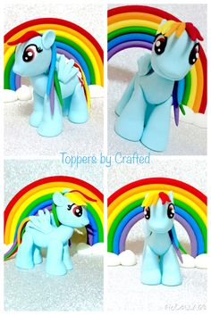 My Little Pony Rainbow Dash fondant cake topper and rainbow set by Toppers by Crafted https://www.facebook.com/toppersxcrafted