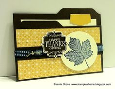 handmade thank you card ... file folder shape with the sentiment on the file ... Fall theme ... leaf stamp ... ribbon, twine and pearls ... fun card!!