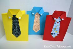 East Coast Mommy: Shirt and Tie Father's Day Card Valentine's Day Paper Crafts, Diy Father's Day Crafts, Diy Party Crafts, Father's Day Diy, Fathers Day Crafts, Cute Valentines Day Cards, Easy Valentine Crafts, Valentines For Boys, Kids Crafts