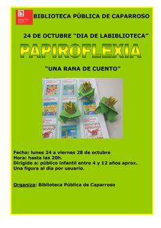 """Cartel actividad papiroflexia """"Una rana de cuento""""  Biblioteca Pública de Caparroso"""
