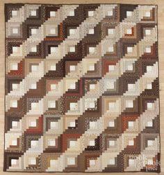 Contemporary log cabin quilt, 102'' x 90''. - Price Estimate: $80 - $120