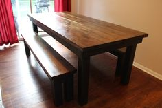 7' dining table with two matching benches, black legs from http://www.carpenterjames.com