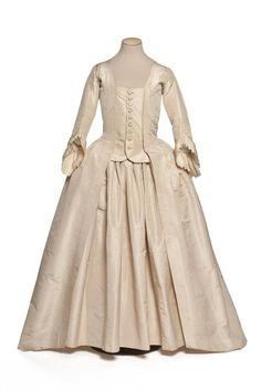 Robe à la française, France, second half 18th century. Ivory silk taffeta.