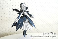 """Suigintou  from """"Rozen Maiden""""   folded from an uncut square   designed by Brian Chan   December 2007"""