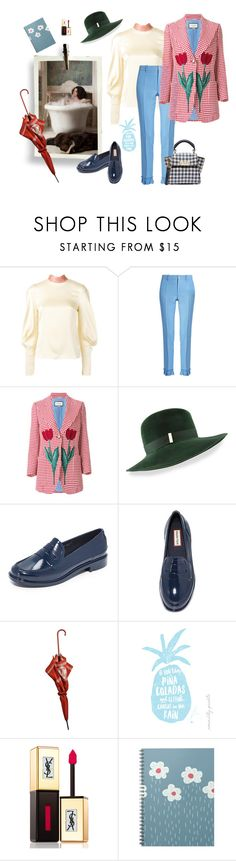 """""""Sooo Munich, the style of my hometown- soaking wet"""" by juliabachmann ❤ liked on Polyvore featuring Roksanda, Gucci, Gigi Burris Millinery, Hunter, Chanel, Yves Saint Laurent and ZAC Zac Posen"""