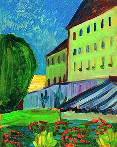 ۩۩ Painting the Town ۩۩ city, town, village & house art - Gabriele Münter | School House in Murnau