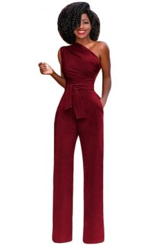 Wholesale Tie Waist Sleeveless One Shoulder Jumpsuit from dear-lover,delivering a sleek and sexy jumpsuit perfect for a night out on the town or your next event. Rompers Women, Jumpsuits For Women, Fashion Jumpsuits, One Shoulder Jumpsuit, Jumpers For Women, Playsuits, Scarlet, Night Out, Tie