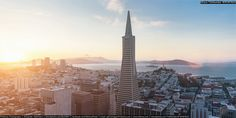 """San Francisco Aerial View Sunset Panorama - <p>San Francisco cityscape aerial view overlooking the financial district during a beautiful sunset twilight. Golden Gate Bridge, Alcatraz and Coit Tower on the background horizon. San Francisco, Financial District, California, USA.</p> <p>Download Photo <a title=""""Aerial View San Francisco Skyline Sunset Panorama"""" href=""""http://www.istockphoto.com/photo/aerial-view-san-francisco-skyline-sunset-panorama-gm537314888-95187825"""">#95187825</a></p>"""