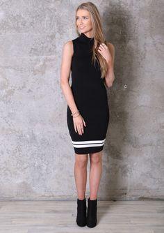 Black Sleeveless Midi Dress With White Lines www.ustrendy.com #UsTrendy
