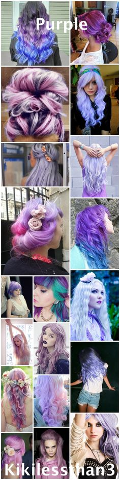 Pastel hair ideas. Purple hair, lilac hair, lavender hair, purple blue hair, all shades purple. Enjoy!