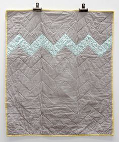 Baby Quilt chevron grey teal yellow 33x40 by meemoe on Etsy