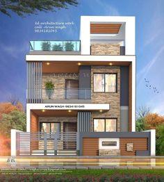 3 Storey House Design, Duplex House Design, House Front Design, Modern Exterior House Designs, Modern House Facades, Modern House Design, Indian House Exterior Design, Simple House Design, Home Design