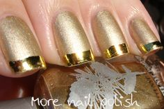 Matte Gold nail with bright metallic tip French manicure Free hand nail art