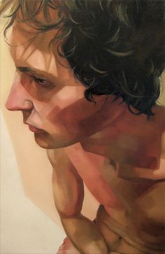 """Intention VI"" - Sara Zin {contemporary figurative art male head torso foreshortening man face profile portrait painting #loveart}"
