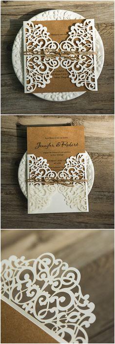 chic rustic burlap laser cut wedding invitations for country wedding ideas