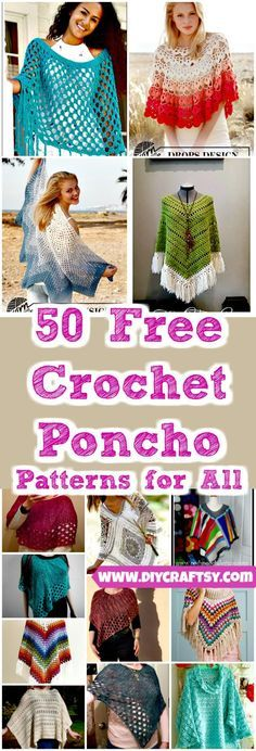 we are with amazingly beautiful and fashion-worthy 50 free crochet poncho patterns that can be with you whole of the year to style you up! These ponchos