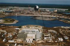 Epcot Center under construction with a view of the American Pavilion and Future World . Via Tony Casselnova
