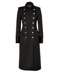 Ferragamo | Black Doublebreasted Wool Coat with Fur Trim | Lyst