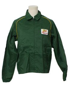 Vintage 1990's Jacket: 90s -Swingster- Mens dark green nylon windbreaker style jacket. A Dekalb logo patch on the left chest, contrasting yellow piping trim on the shoulders, lower inset pockets, elastic on the sides of the hem and on the cuffs, a fold over collar and zip front.