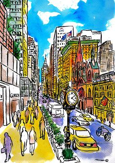 """5th. Avenue - NYC"" * (46x32,5 cm.) · by Francesc Palomas"
