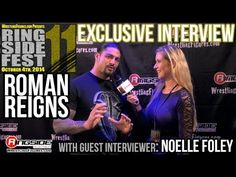 ROMAN REIGNS - RINGSIDE FEST 2014! Special Guest Interviewer - Noelle Foley. I don't know if I would cry if I met him but I can't blame women for being hysterical when they see him. Talking about the Rock shaving his head...hilarious! Love this guy!