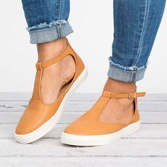 T-Strap Sneaker - Camel