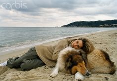 French Actress Vanessa Wagner with her Collie in Saint Tropez - 1999